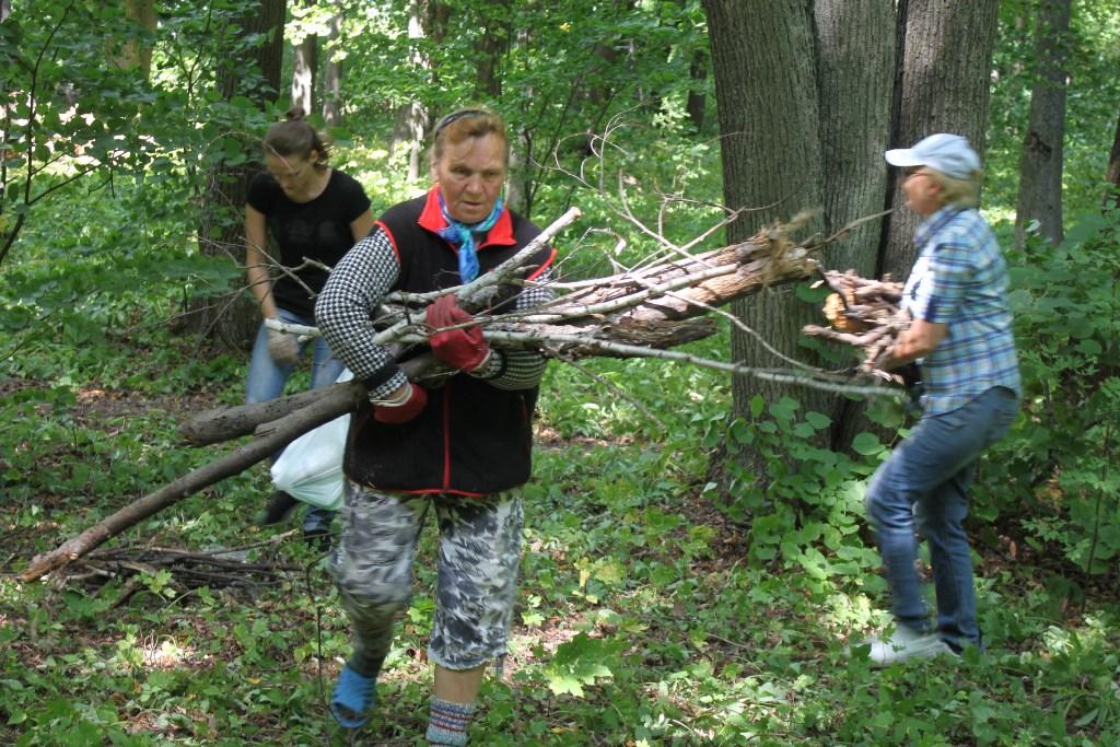 субботник в парке села Троекурово. Уборка территории от мусора, веток и пней